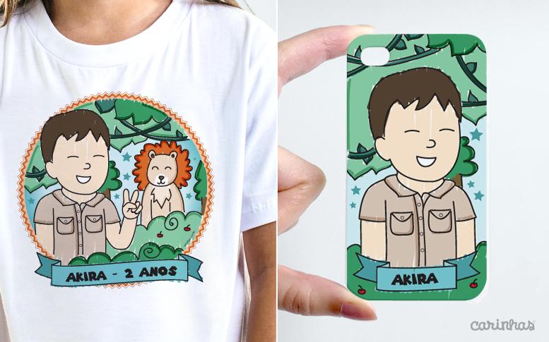 O Akira ganhou uma camiseta e a mamãe Anita uma capinha de celular