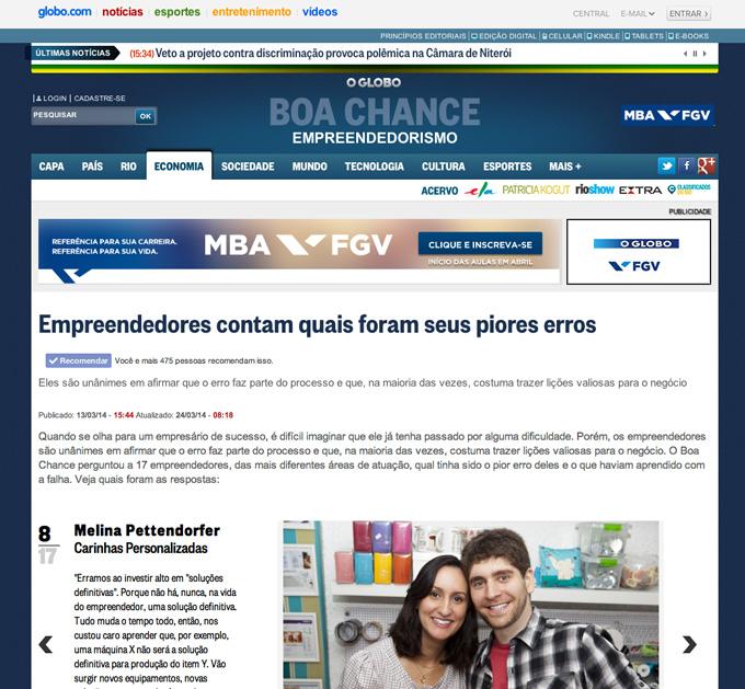 Casal Carinhas em matéria do jornal O Globo Online