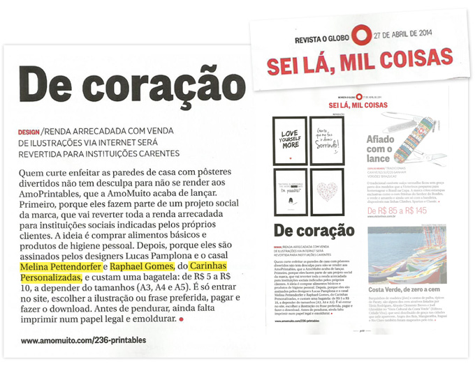 Clipping: Carinhas na Revista O Globo com o projeto Amo Printables