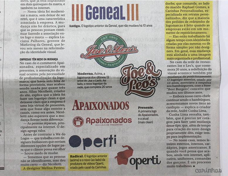 Carinhas no Jornal O Globo