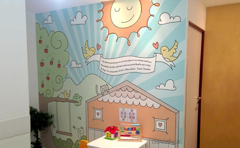 Ilustração Carinhas para adesivo de parede