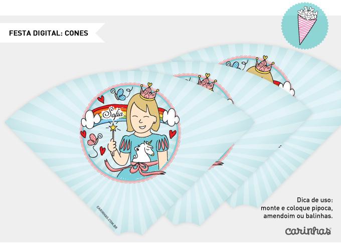 Festa digital: desenho em cones para imprimir e montar em casa