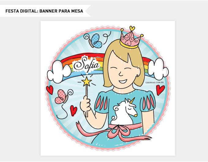 Festa digital com ilustração exclusiva para Sofia no tema do aniversário