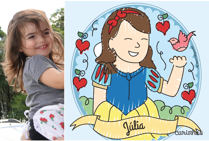 Carinha para Julia no tema Branca de Neve