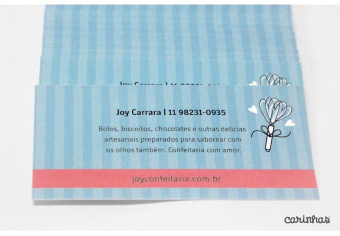 Verso do cartão de visitas da Joy Confeitaria