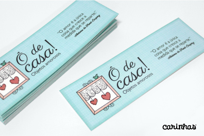 Marca criada para empresa Ô de casa! aplicada a marcadores de livro