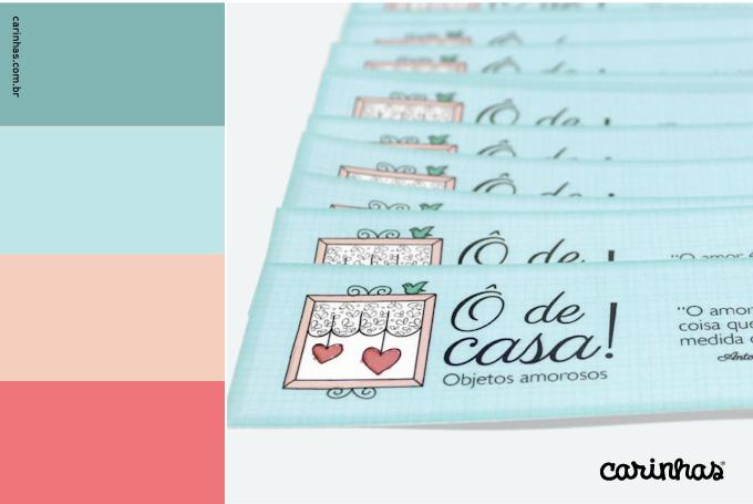 Marca e paleta de cores criada para empresa Ô de casa! aplicada a marcadores de livro